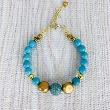 Turquoise Blue Jasper Bracelet Gold Tone Boho Adjustable Handmade Pineapple