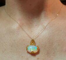 Ethiopian Fire Opal cabochon 4ct necklace pendant  14k gold chain Brass setting