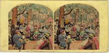 Photo Stéréo Albuminé Colorisé Scène Vers 1860