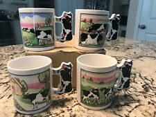 CERAMIC FARM COW MUG - COWS ON HILL WITH COW SHAPED HANDLE COFFEE CUP