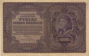 1919 1000 MAREK POLAND POLISH CURRENCY LARGE BANKNOTE NOTE MONEY BANK BILL CASH