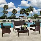Patio Wicker Furniture Outdoor 4pc Rattan Sofa Table Garden Conversation Set