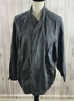 Eileen Fisher Women's Gray Linen Blend Stretchable Front Open Jacket Shrug 2X