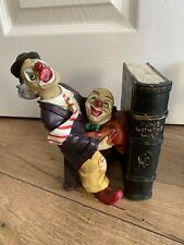 Rare Vintage Early Gone With The Wind Clown Bookends Made In UK Peter Mook
