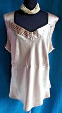 apostrophe Gold Satin Sleeveless Top 24W 26W Tie Back Blouse Pintuck Neck Dressy
