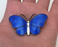 Vintage Ivar T Holth 925 Sterling Silver Norway Blue Enamel Butterfly Pin Brooch