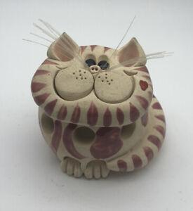Pence Pets Original tabby cats hand sculpted cat, Garlic Ginger Storage Jar