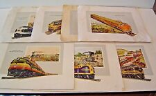 "Htf ""Across the New Frontier"" vintage set of 6 Diesel locomotive prints. Emd"