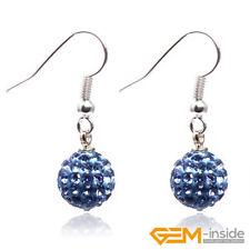 10mm Rhinestone CZ Crystal Pave Sparkle Disco Ball Beads Hook Dangle Earrings