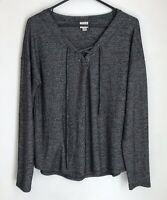 A New Day Womens M Shirt Black Knit Tie Front V-Neck Long Sleeve Top