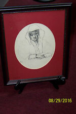"""Original pencil drawing"""" Old woman reflecting on her life"""" matted and framed"""