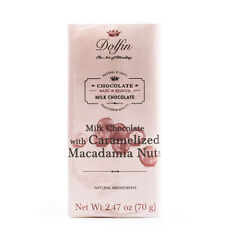 Dolfin Belgium Chocolate Bar - Milk with Caramelized Macadamia Nuts (2.5 ounce)