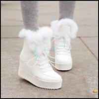 Winter Womens Warm Fur Lace Up High Wedge Inside Platform Ankle Snow Boots Shoes