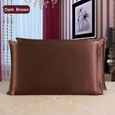 Authentic Luxury 22 Momme Mulberry Silk Pillow case Both Sides Real Silk Brown
