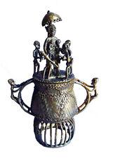 Große Afrika Akan Ashanti Kunst Bronze Goldstaubdose Gelbguss Behälter Box