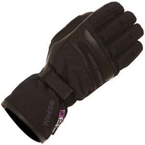 Weise Ladies Legend Waterproof Motorcycle Motorbike Leather Textile Glove Black