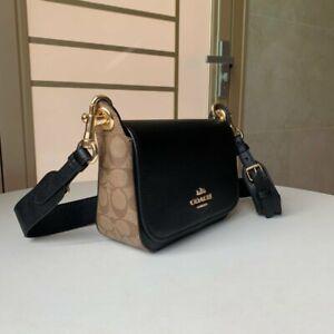 Coach Small Messenger Crossbody Bag Black Khaki Leather Canvas