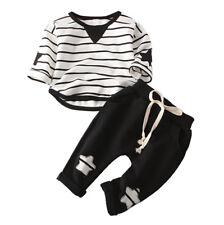 Child Casual Fashion Girl Boy Toddler Cotton Stipe T-Shirt Star Solid Pants Set
