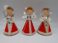 Vintage Feather Hair Christmas Angel Figures Made In Japan Putz ?