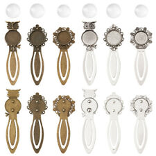 Metal Bookmark Cabochon Setting Clear Glass Antique Bronze Silver 20mm Craft DIY