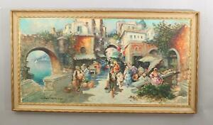 Large Original AMEDEO SICA Italian Marketplace Oil Painting, Tramanto Italy, NR