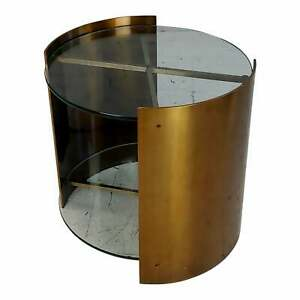 Brass & Two Tiers Glass Cylinder side Table