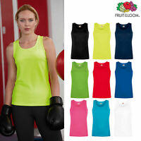 Plain Ladies Women VEST TOP Tank FRUIT OF THE LOOM 100% Cotton Girls Top Vest