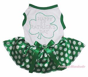 Happy St Patrick Clover White Cotton Top Green Dot Skirt Pet Dog Puppy Cat Dress