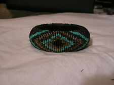 ...Brown,Amber & Turquoise Glass Beads Bangle Bracelet...