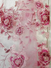 Bridal Wedding Embroidered Net Heavy Embroidery 3 D Layers Pink Lace Fabric BTY