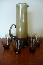 VINTAGE RETRO MID CENTURY SMOKEY GLASS JUG & 6 WHISKEY? GLASSES MADE IN POLAND