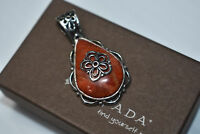 Silpada Sterling Silver Red Coral Double Sided Pendant S2272  Retired Reversible