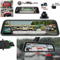 Dual Lens HD 1080P 10'' Car DVR Rearview Mirror Camera Recorder Dash Cam