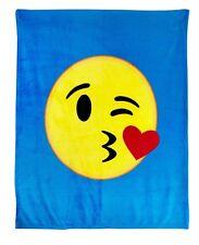 "Luxuriously Emoji Velvet Large Kissy Face Plush Throw Soft Warm Blanket 50""X 60"""
