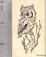 Screech Owl Rubber Stamp, Roosting in Tree H17613 WM