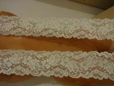 Französische elastische Spitzenborte,Spitze,Lace creme,ivory,wollweiß  7cm breit