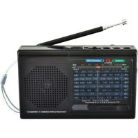 Supersonic 9-Band Rechargeable Bluetooth AM/FM/SW Radio with USB/SD MP3 Player
