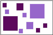 40 SQUARES boxes shapes vinyl wall art stickers decals circles Lilac & violet