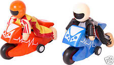 NEW child wooden toy RACING MOTOR CYCLES + RIDERS dolls