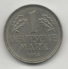 GERMANY, WEST, 1954-F, 1 MARK, COPPER NICKEL, (SCARCE DATE), KM#110, EXTRA FINE
