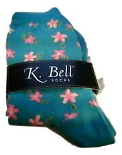 K Bell Flower Blue Crew Socks Womens Size 9-11 NWT Novelty Casual Floral Fun