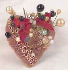Heart Pin Cushion Hat Pins Imitation Pearl Black Glass Vintage Pincushion Hatpin