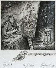 LONELINESS Original Etching by Leonid STROGANOV, Russian Ex Libris Artist