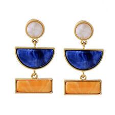 Boucles d'Oreilles CLIP ON Doré Geometrique Art Deco Bleu Marine Jaune AA18