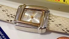 Square Appear Quartz watch Silver Dial Snake beige printed band Girls Woman