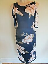 MATERNITY NAVY WHITE FLORAL FITTED FORMAL PARTY DRESS SIZE XXL 16-18