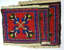 "Lot 3 Vintage Rug Handmade Small Hand Wooven Rugs 16x16""18x18"""