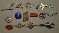 Tarom LOT Lufthansa Condor Swiss Air Pan Am JAT Qantas Airlines vtg pin badge