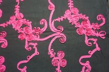 HOT PINK ON BLACK RIBBON EMBROIDERED FLOWER FABRIC~SEWING PANTS SKIRT--31""