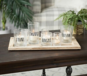 Rae Dunn 6 Piece Seeded Glass Votive Candle Holders & Wooden Tray